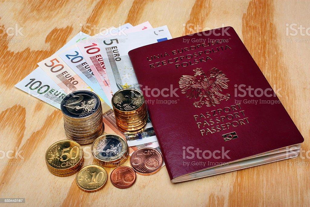 Polish passport and euro money stock photo