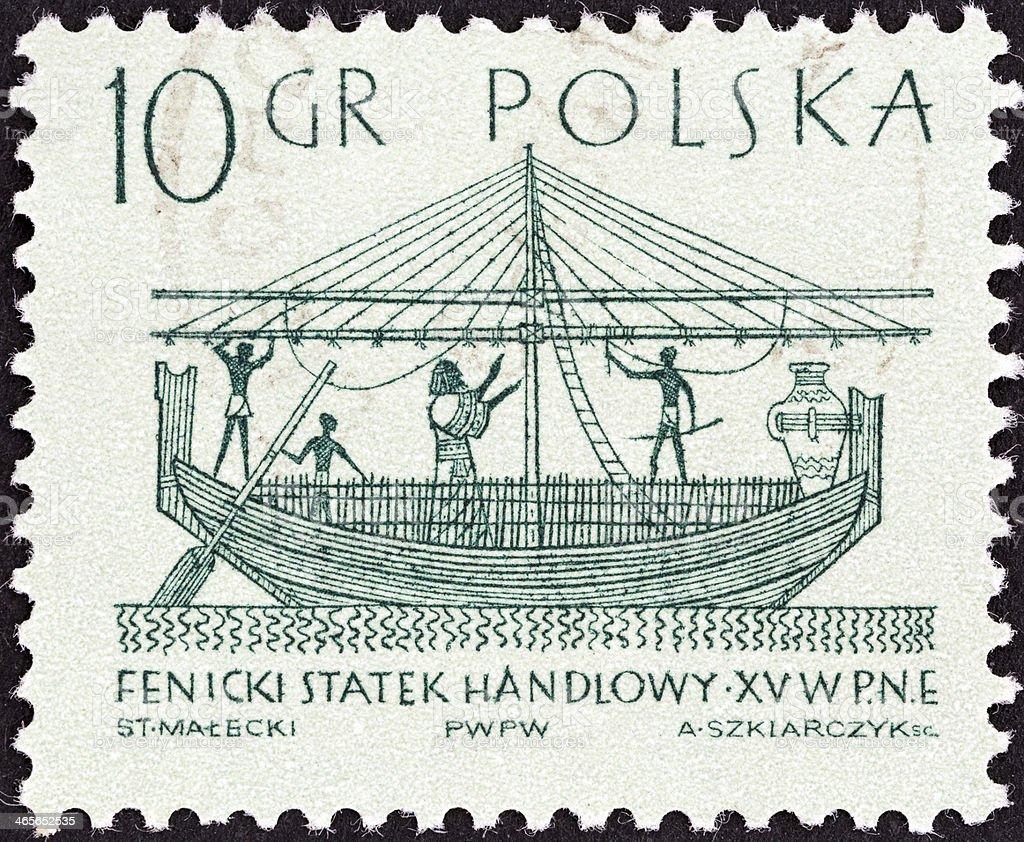 Polish stamp shows Phoenician merchantman (15th century BC) (1963) stock photo