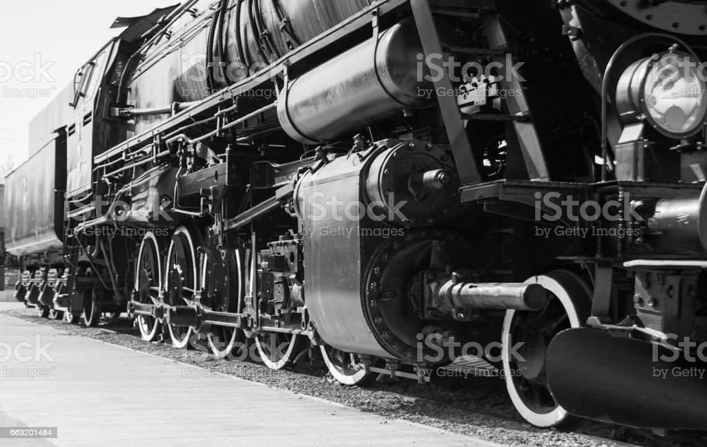 Polish steam locomotive with tender. stock photo