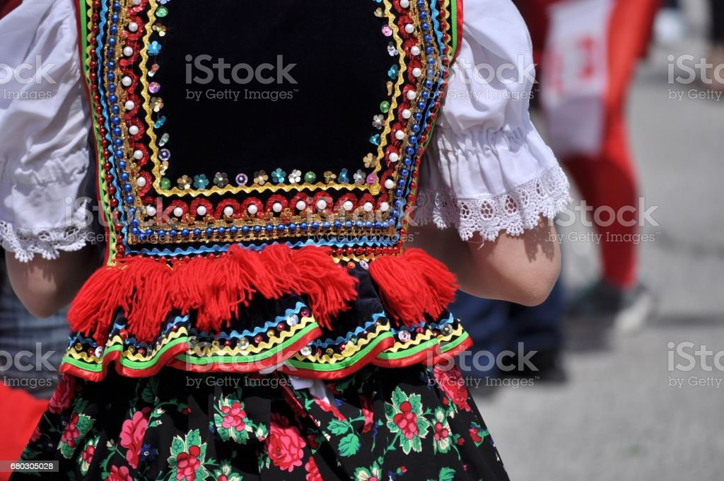 Polish traditional folk costume. stock photo