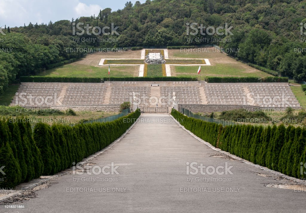 Polish War Cemetery at Monte Cassino - a necropolis of Polish soldiers who died in the battle of Monte Cassino from 11 to 19 May 1944. stock photo