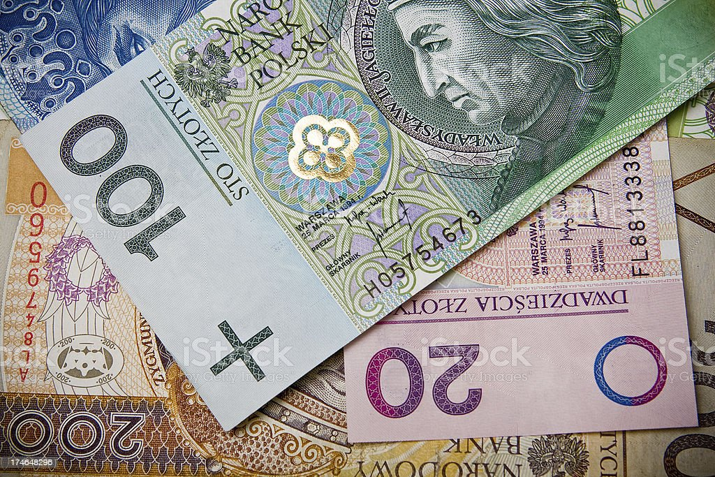 "polish zloty ""Money background. Banknotes from Poland, polish zloty"" Backgrounds Stock Photo"
