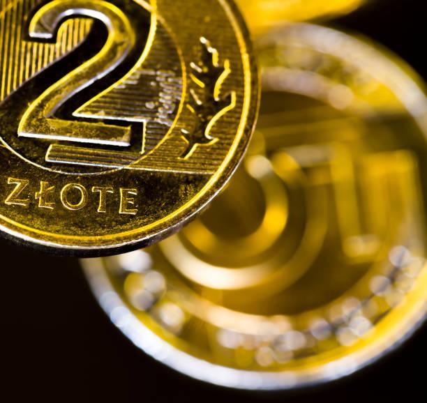 zlotys polacos en forma de monedas de metal - indemnización compensación fotografías e imágenes de stock