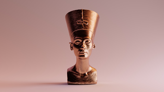 Polished Egyptian Brass Bust of Nefertiti