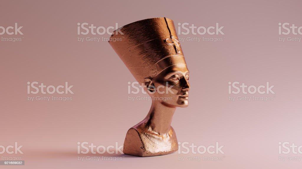 Polished Egyptian Brass Bust of Nefertiti stock photo