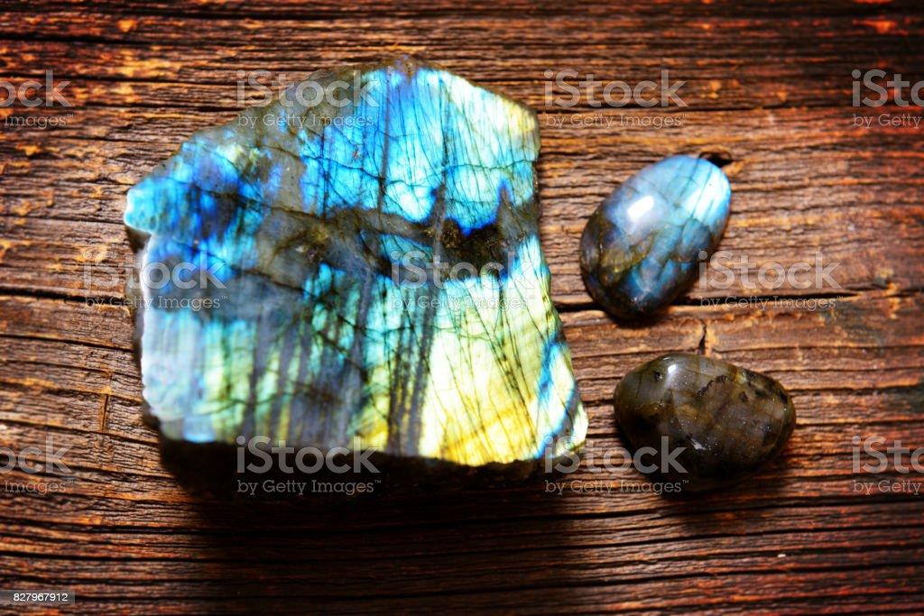 Polished labradorite crystals stock photo