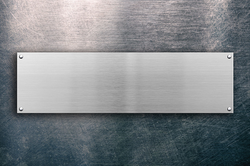 Steel signboard on metal background