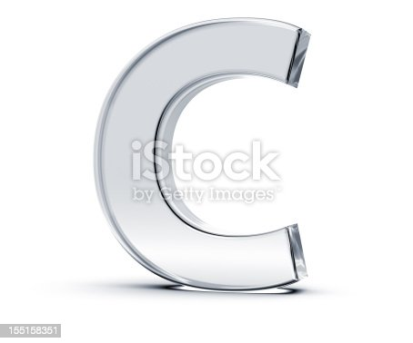 istock Polished silver alphabet C on white background 155158351