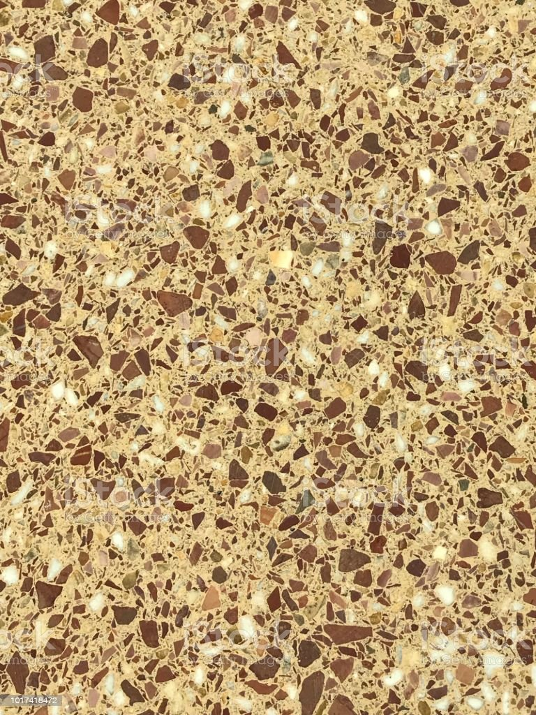 Polished stone slab of conglomerate rock stock photo