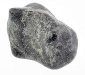 polished Suevite (tagamite) stone on white