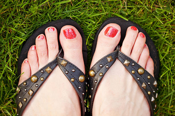 Polished Tonails in Grass stock photo
