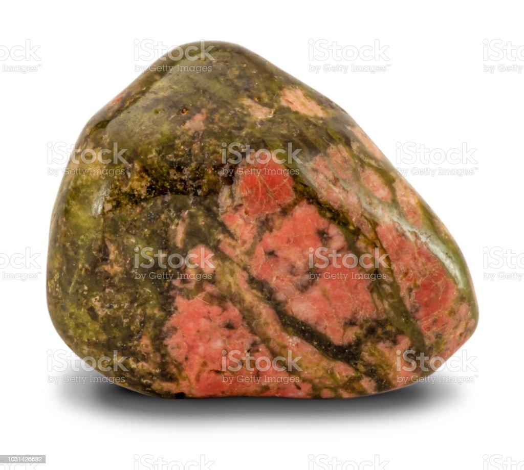 Polished Unakite Stone Isolated On White Background Stock