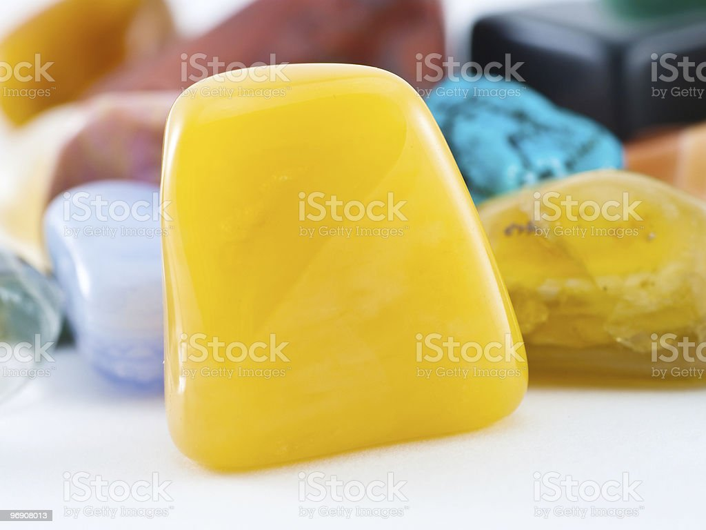 Polished yellow agate gemstone royalty-free stock photo
