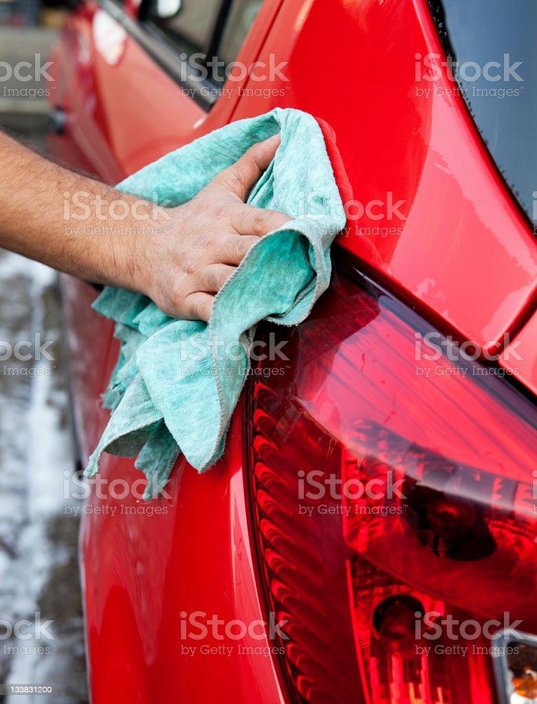 polishing a car royalty-free stock photo