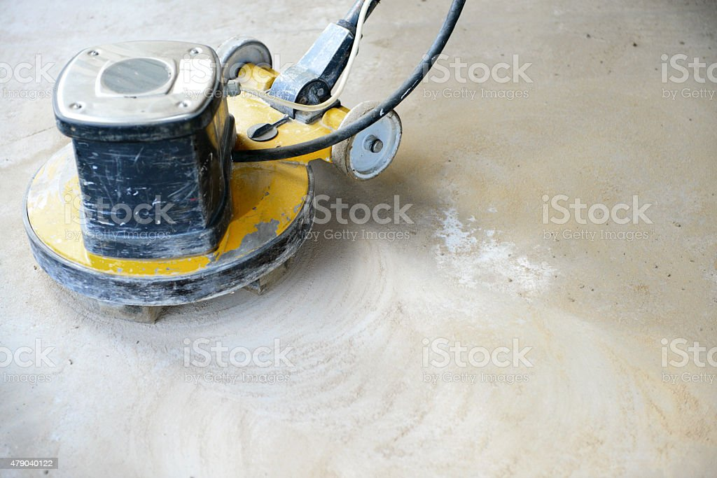 polishing concrete floors,polishing machine stock photo