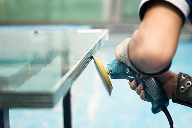 Polishing glass stock photo