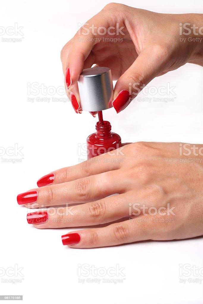 Polishing nails royalty-free stock photo