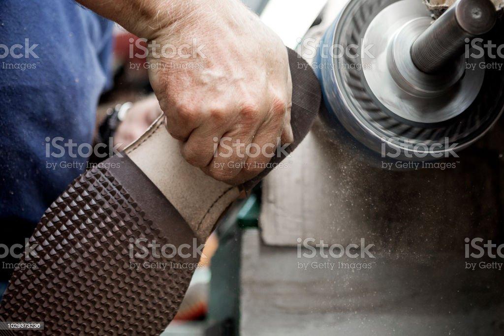 Polishing shoes stock photo