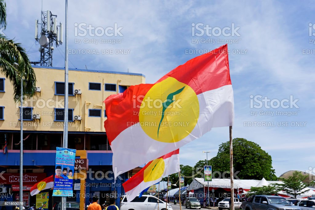 Line up of UMNO flags in Sipitang town, Umno is a Malaysia\'s largest...