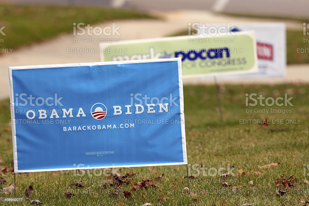 Political Campaign 2012 Yard Signs stock photo