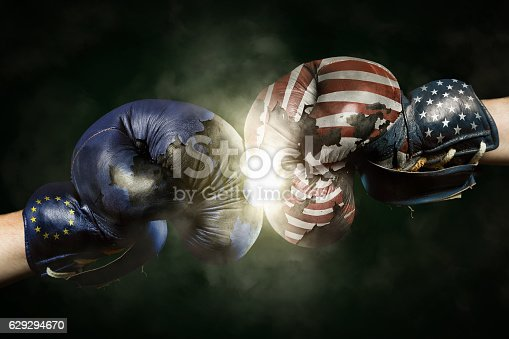 istock Political Crisis between USA and EU symbolized with Boxing Glove 629294670
