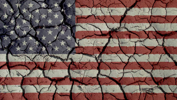 political crisis concept: mud cracks with us flag - disintegrate stock pictures, royalty-free photos & images
