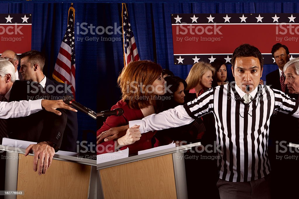 Political Debate with a Referee royalty-free stock photo