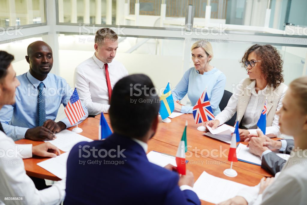 Political forum stock photo