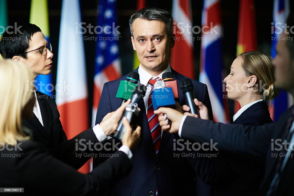 Political interview stock photo