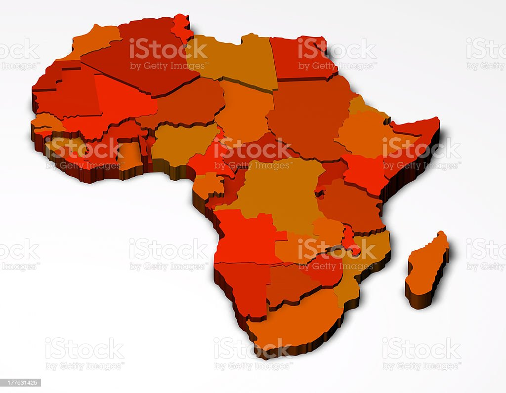 Political map of Africa 3D royalty-free stock photo
