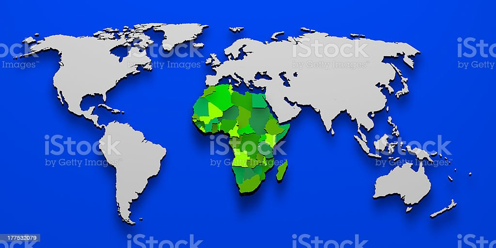 Political map of Africa 3D stock photo