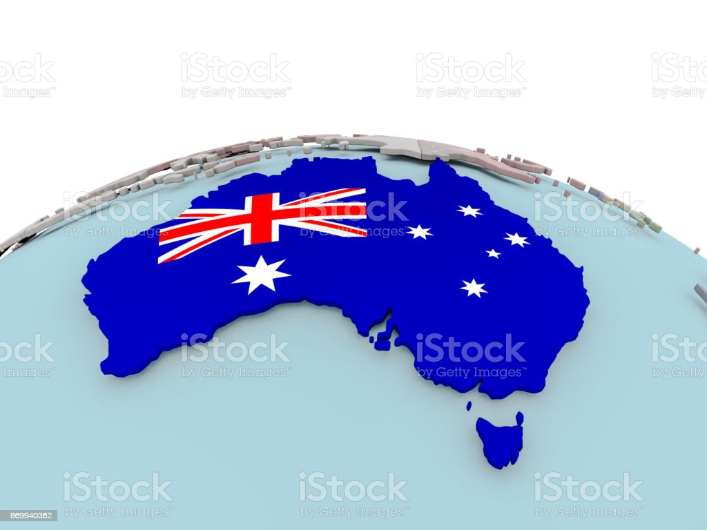political map of australia on globe with flag royalty free stock photo