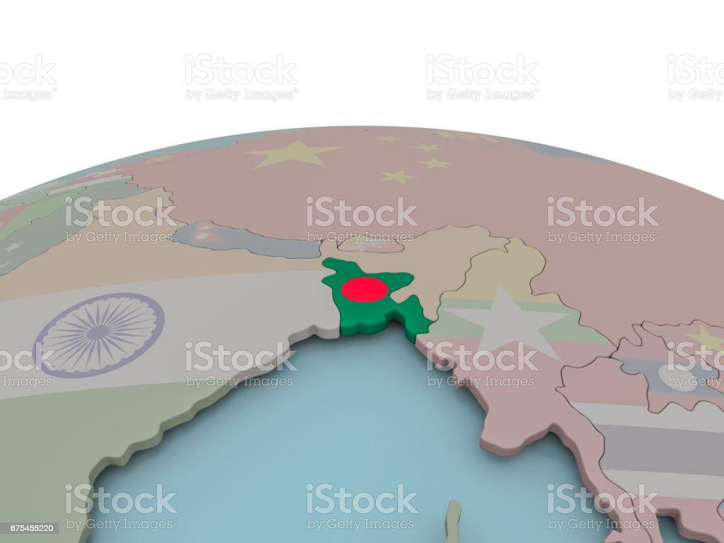 Mapa político de Bangladesh en globo con la bandera - foto de stock