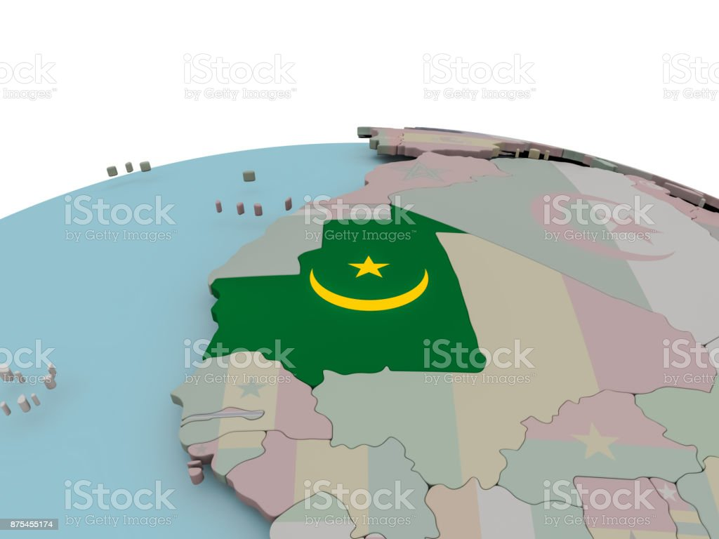 Political map of Mauritania on globe with flag stock photo