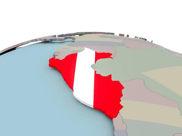 Mapa político del Perú en el mundo con bandera - foto de stock