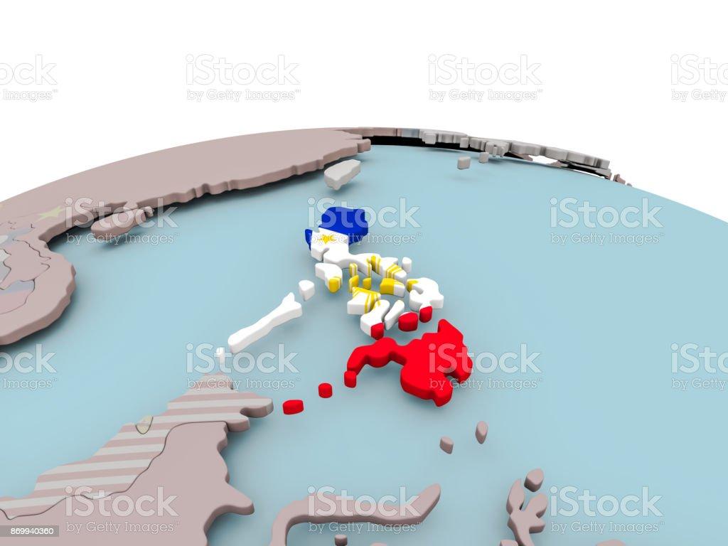 Politische Karte der Philippinen auf Globus mit Flagge – Foto