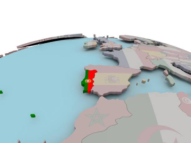 political map of portugal on globe with flag - portugal map imagens e fotografias de stock