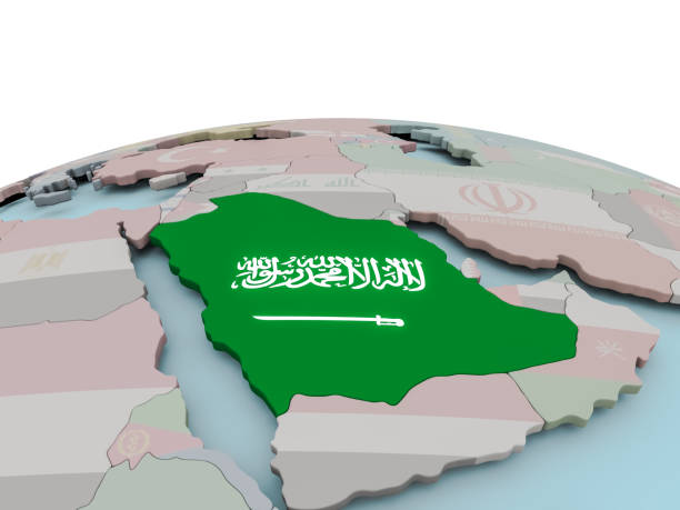 political map of saudi arabia on globe with flag - saudi arabia map stock photos and pictures