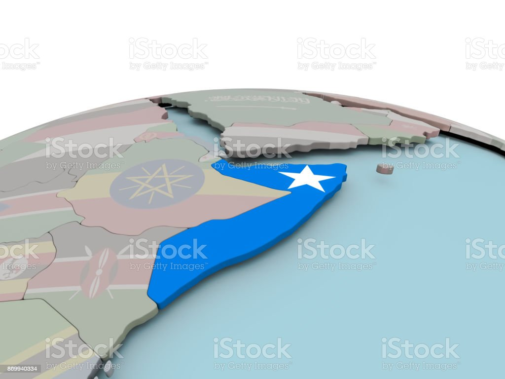 Political Map Of Somalia On Globe With Flag Stock Photo & More ...