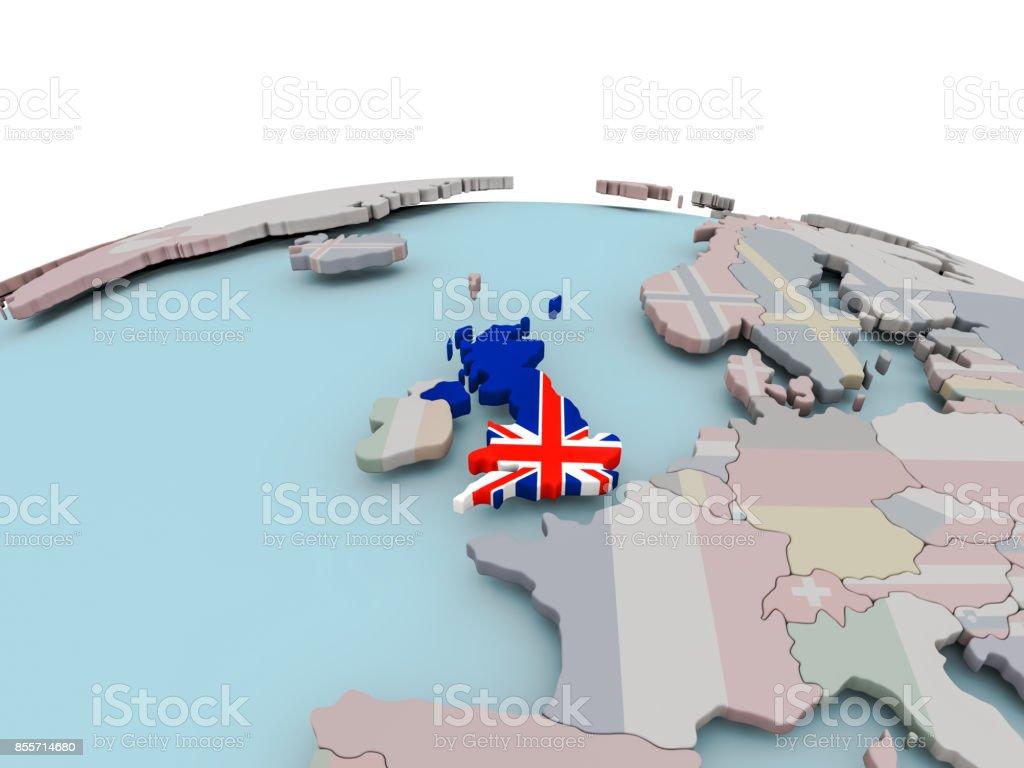 Map Of Uk On Globe.Political Map Of United Kingdom On Globe With Flag Stock Photo
