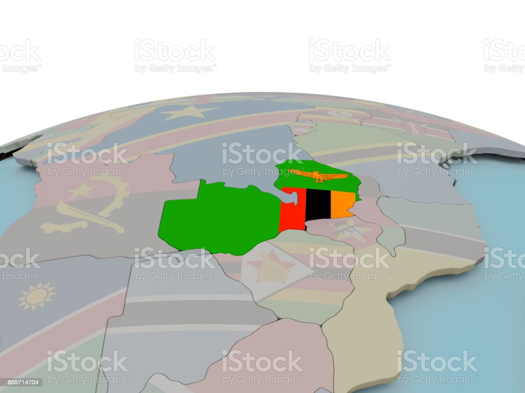 Political map of Zambia on globe with flag stock photo