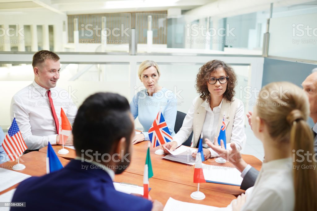 Political meeting stock photo