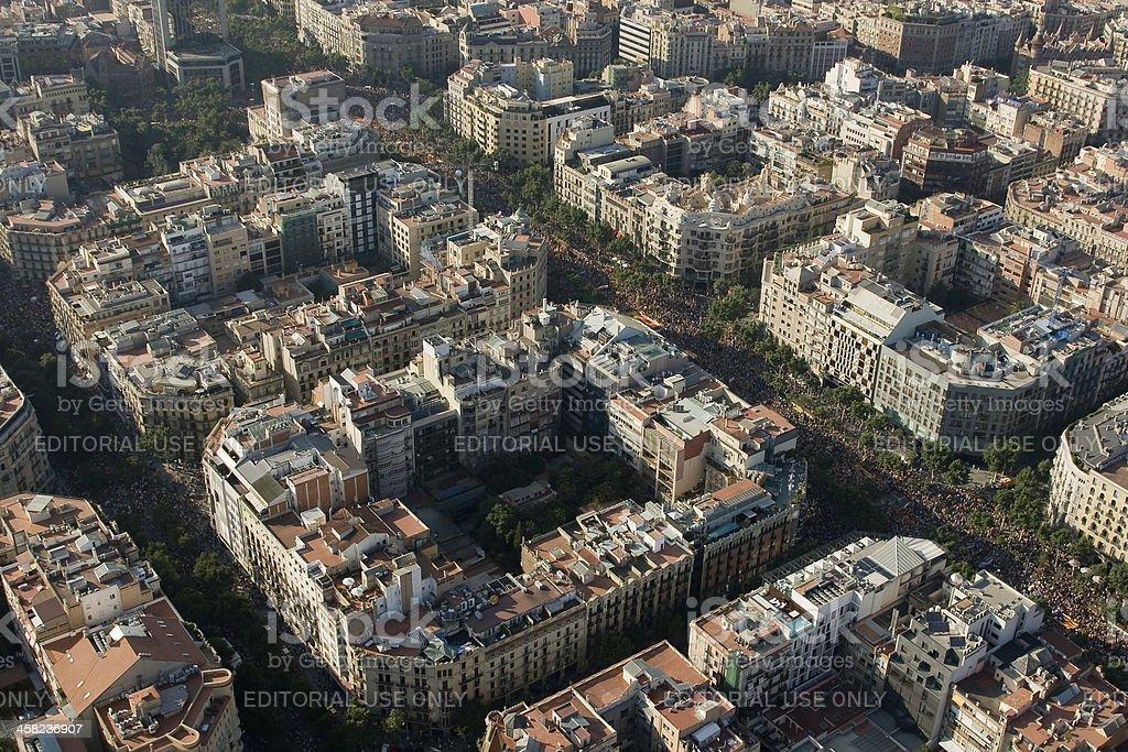 Political rally in Barcelona stock photo