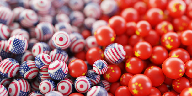 Political relationships between USA and China, original 3d rendering stock photo