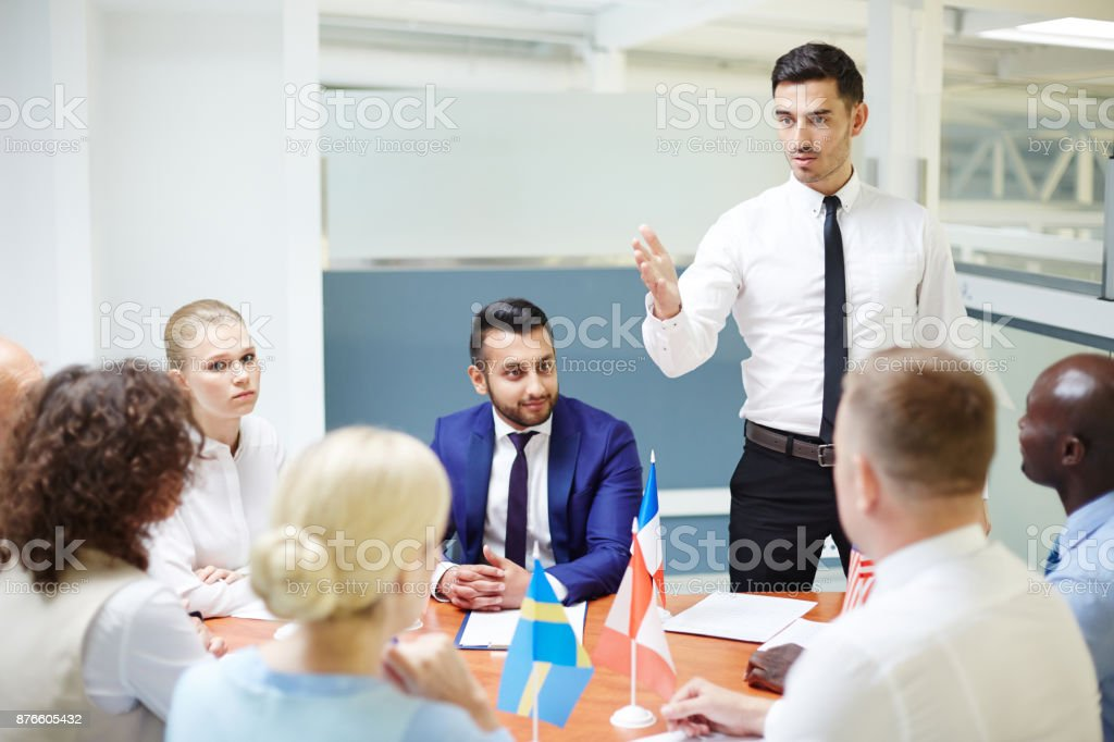 Political seminar stock photo