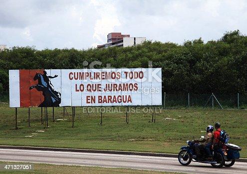 Habana, Cuba – September 11, 2011: Political sign in the road that links Varadero to Habana. The propaganda says \\\