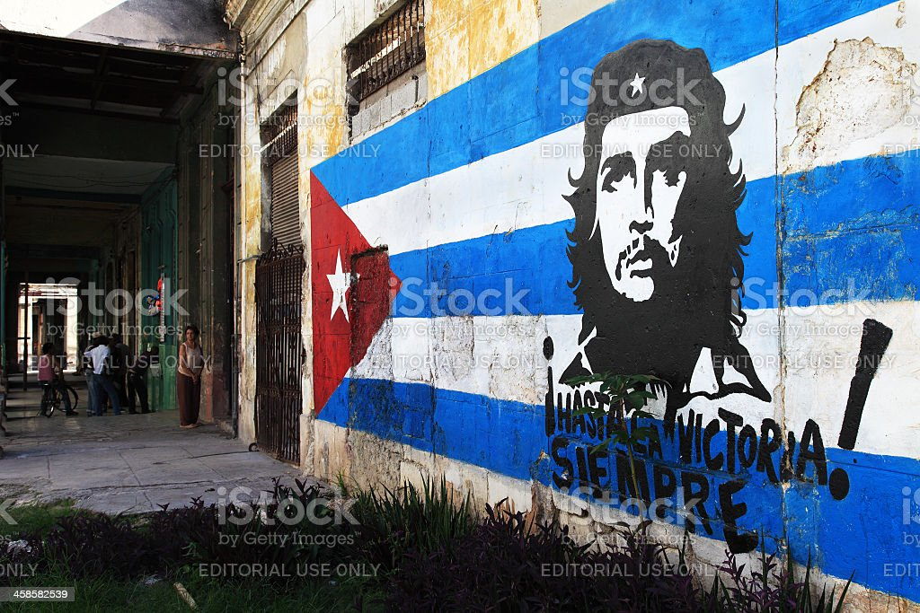 Political sign in Old Habana stock photo