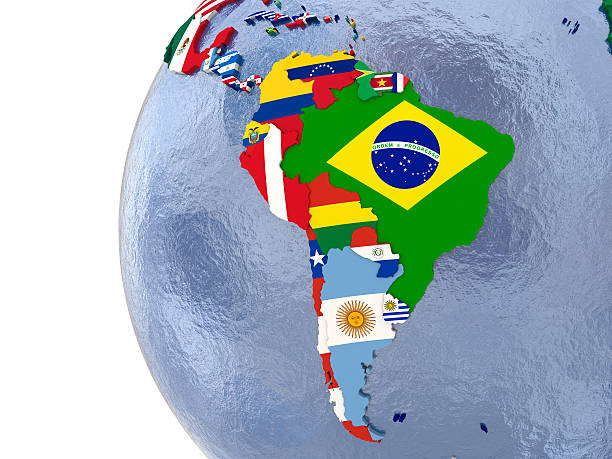 Political south America map Political map of south America with each country represented by its national flag. latin america stock pictures, royalty-free photos & images