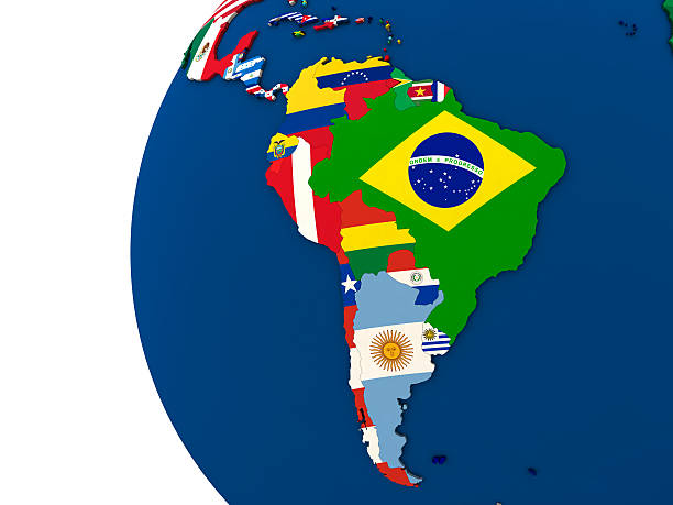 Political south America map Political map of south America with each country represented by its national flag. 3D Illustration. latin america stock pictures, royalty-free photos & images