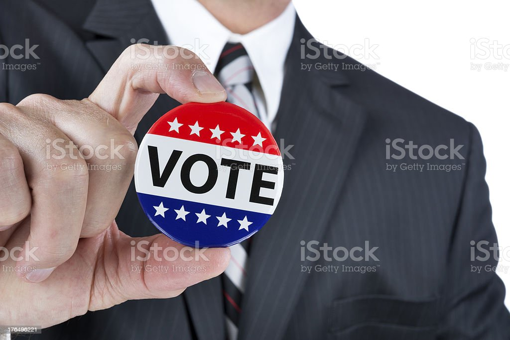 Political vote badge stock photo